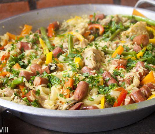 Galinhada arroz galinha legumes