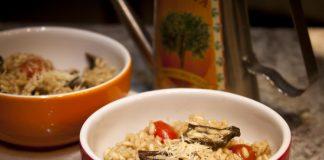 Risoto de funghi e mini tomates