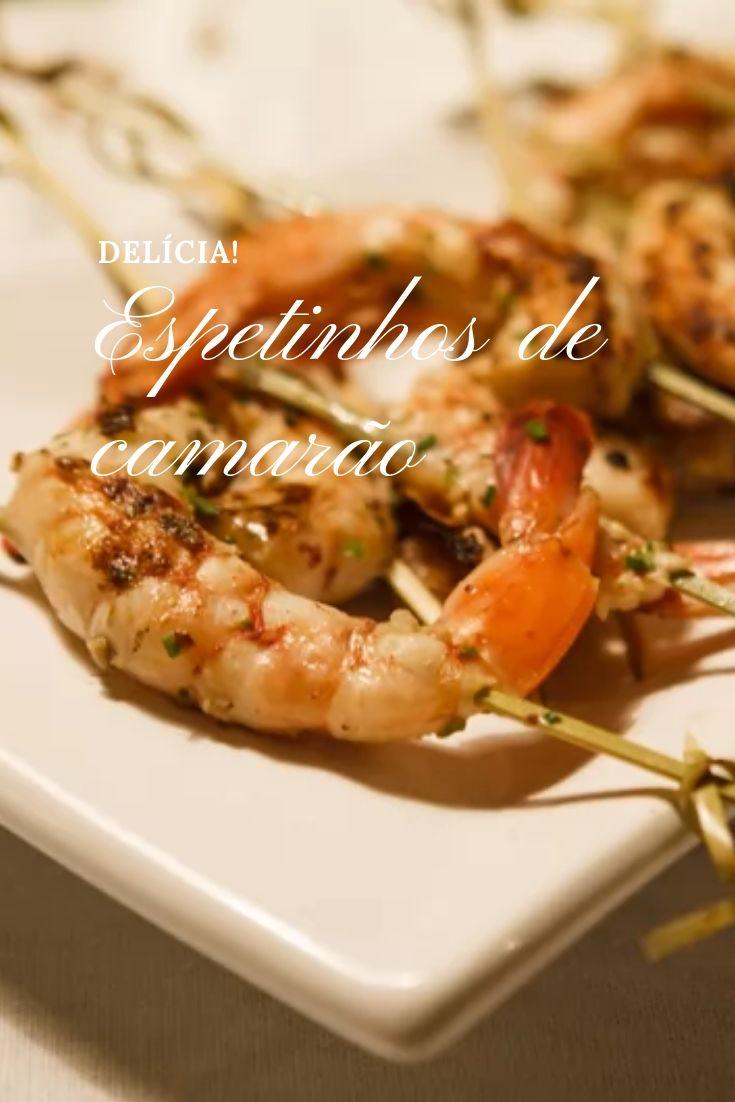 espetinhos de camarão