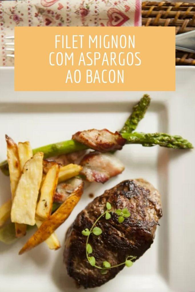 Filet mignon com aspargos ao bacon