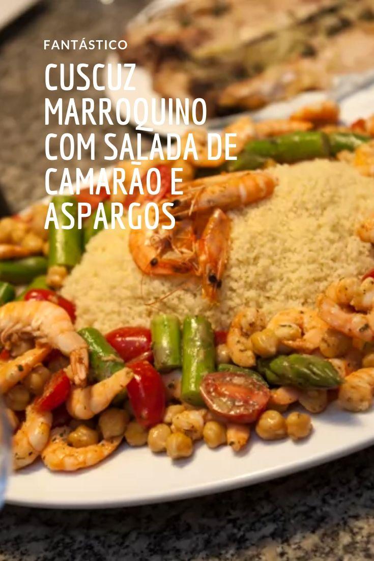 Cuscuz marroquino com salada de camarão e aspargos