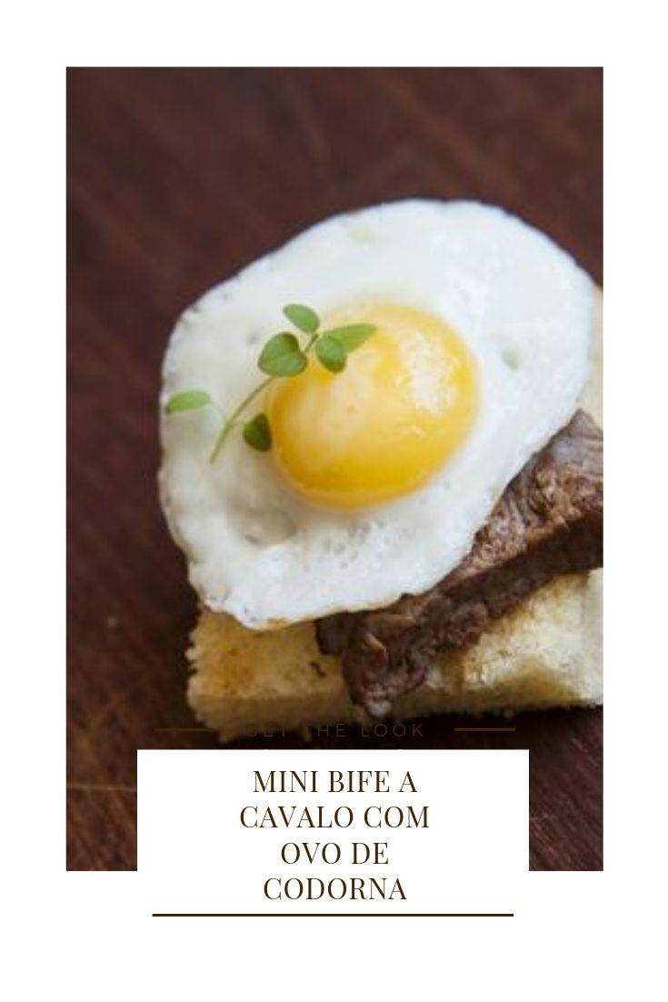 mini bife a cavalo com ovo codorna