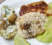 Peixe crocante com batatas