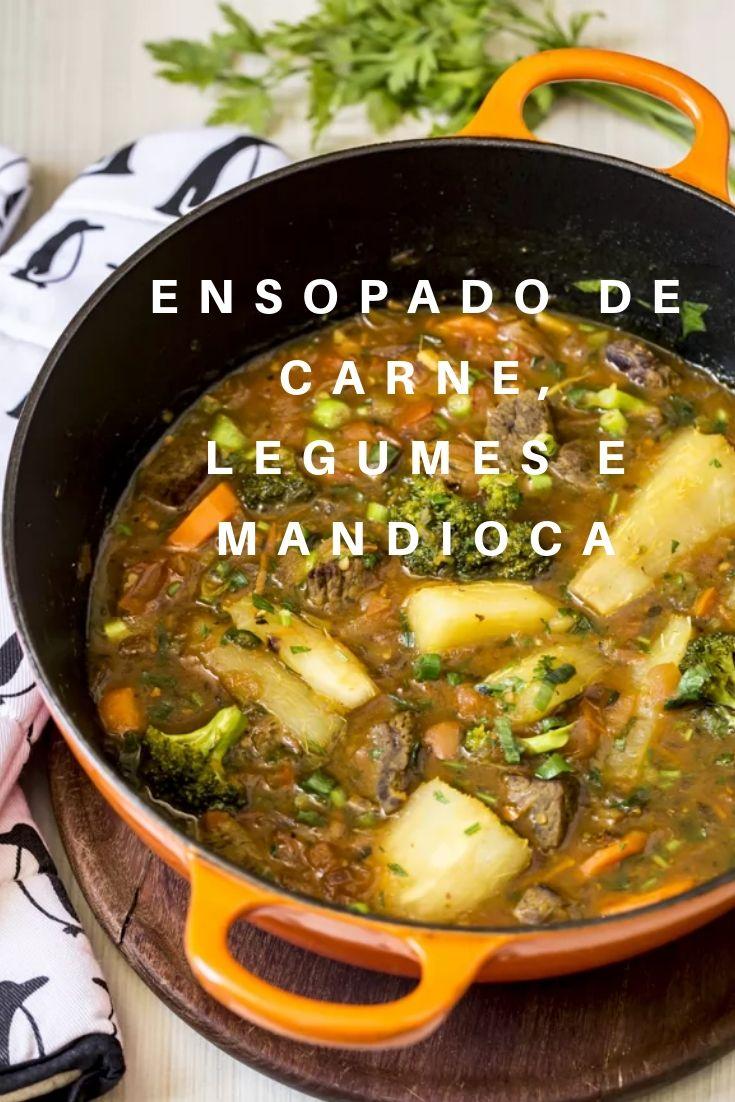 Ensopado de carne legumes e mandioca