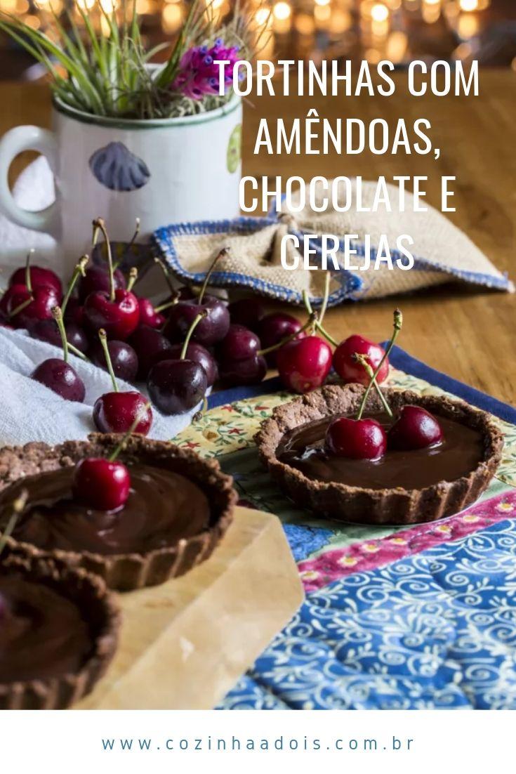 ortinhas com amêndoas, chocolate e cerejas