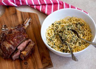 prime rib com spaghetti